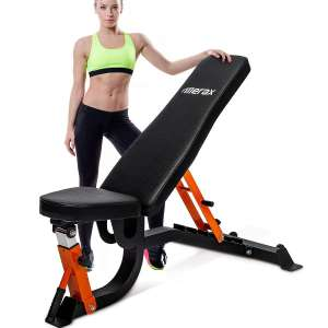 5. Merax Adjustable 6 Position Incline Decline Weight Bench with Foam Padding for Strength Training