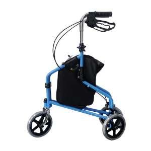 BodyHealt 3 Wheel Rollator Walker with Locking Brakes, Aluminum Frame and Adjustable Handle Height