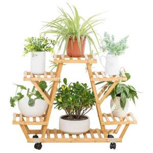 COPREE Bamboo Rolling 6-Tier Flower Stand
