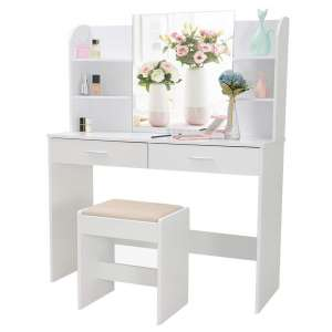 usikey Makeup Table for Bedroom and Bathroom, White