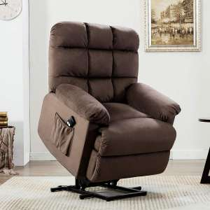 8. ANJ Power Lift Chair for the Elderly with Side Pockets, Chocolate