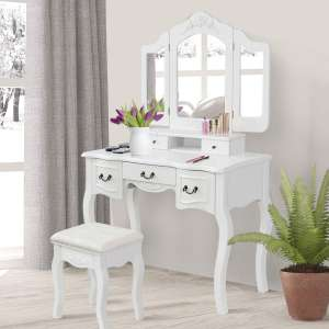 Giantex Vanity Table Set with Mirror and Stool (White)