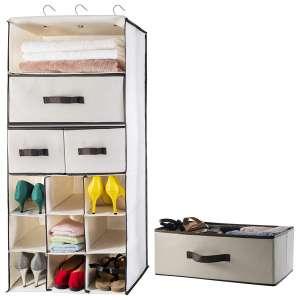 Lovotex 3 Shelf Foldable Closet Hanging