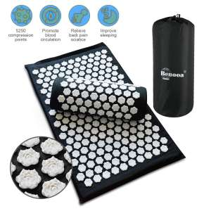 9. Benooa Acupressure Pillow Mat for Therapy Back Insomnia Neck Pain with Carrying Bag