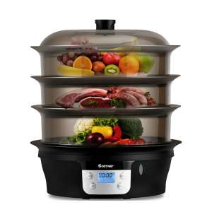 9. COSTWAY Food Steamer-Electric Pot Cooker w/Food Tray
