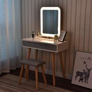YOURLITEAMZ Vanity Table Set with Adjustable Brightness Mirror