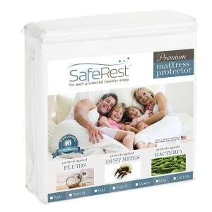 1. SafeRest Queen-Size Hypoallergenic and Waterproof Mattress Pad