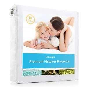 2. LINENSPA Premium Fabric Mattress Protector, White
