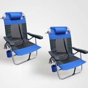 Outdoor Spectator Multi-Position Flat Folding Backpack Beach Chair 2 Pack