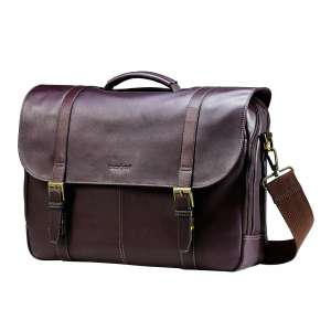 Samsonite Colombian Leather Flap-Over Messenger Bag Laptop