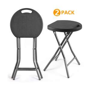 5Rcom Portable Folding Stools with Heavy Duty Steel Frame (Set of 2)