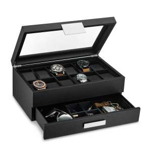 Glenor Co Watch Box w/Valet Drawer