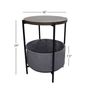 Nathan James Round End Table with Storage
