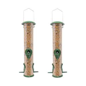 GrayBunny Classic Metal Tube Feeder 2-Pack Bird Feeder