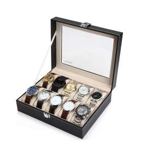 Readaeer 10-Watch Black Leather Box Case
