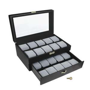 Ikee Design Deluxe Watch Display Case w/Key Lock
