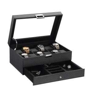 BEWISHOME SSH02C Watch Box Organizer w/Valet Drawer