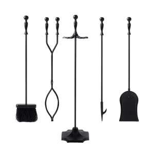 Shop4Omni Black Wrought Iron Fireplace Tool Set