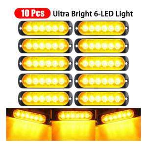 EVERRICH 10 Pieces Ultra Slim 6-led Amber Light