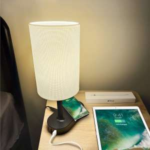 Qi Bedside 3 USB Table and Desk Wireless Charging Lamp