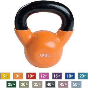 SPRI Deluxe Cast Iron Kettlebell Weights with Comfort Grip Wide Handle