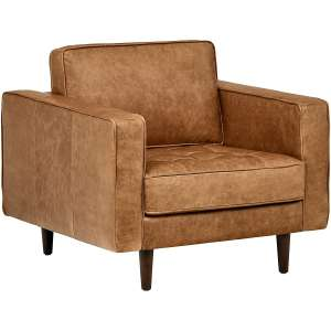 Rivet Aiden Tufted Modern Leather Accent Chair 35.4 Inches