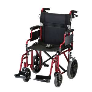 NOVA Medical Products Transport Chair w/ Locking Hand Brakes, Red