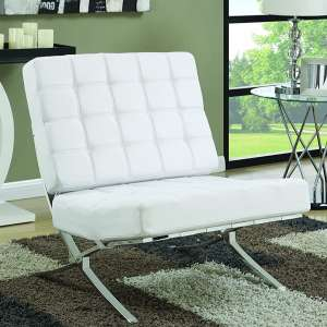 Coaster Home Furnishings Armless White Leather Accent Chair