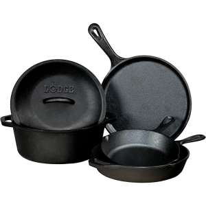 Lodge Seasoned Cast Iron 5-Pieces Pots