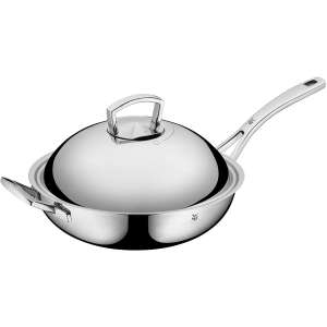 WMF Stainless Steel Wok 12.5 Inches with Lid