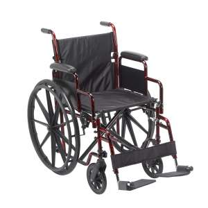 Drive Medical Lightweight Transport Wheelchair, Red
