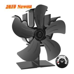 Sonyabecca 5 Blade Wood Stove Fan with Magnetic Thermometer