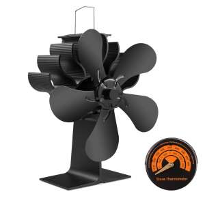 PYBBO 5 Blades Wood Stove Fireplace Fan with Magnetic Thermometer
