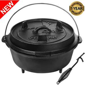 Overmont Camp Dutch Oven Cast-Iron Pot