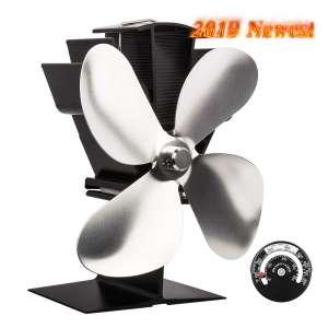 Sonyabecca Heat-Powered Stove Fan, Silver