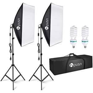 HPUSN Softbox Lighting Kit for Portrait Products and Fashion Photography