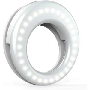 QIAYA LED Circle Camera Light, Clip-On Rechargeable
