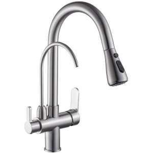 WANFAN Modern Kitchen Faucet, Brushed Nickel