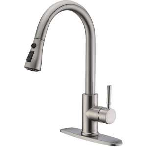 WEWE Single Handle Kitchen Faucet with Pulldown Sprayer