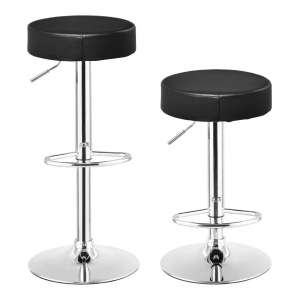 COSTWAY Round Leather Adjustable Bar Stool