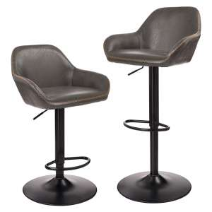 Glitzhome Adjustable Bar Stools; Dark Grey