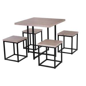 HOMCOM Dining Room Table and Stools Set