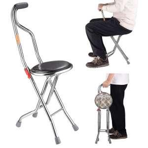 ZeHuoGe Stainless Steel Quadripod Folding Cane Seat for Elderly