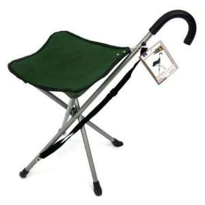 MacSports Folding cane chair with stool