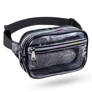 Wehllev Grid Clear Fanny Pack Waterproof Belt Bag