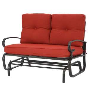 Patiomore 2 Seats Outdoor Rocking Bench with Red Cushion