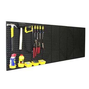 96 WallPeg 4 Black Plastic Pegboard Panels Kit