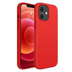 Miracase Red Liquid Silicone Full Body Protective Case for iPhone 12 Pro and iPhone 12
