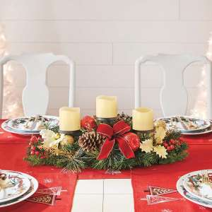 BrylaneHome Pre-Decorated Christmas Red Candle Holder