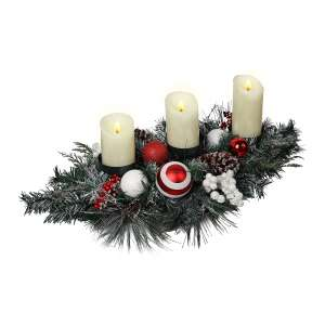 Valery Madelyn Red White Artificial Christmas Candle Holder
